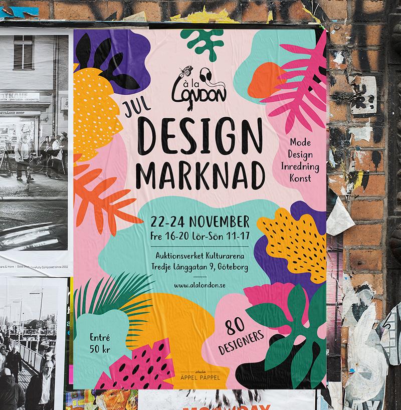 Affisch med färgglad illustration för designmarknad