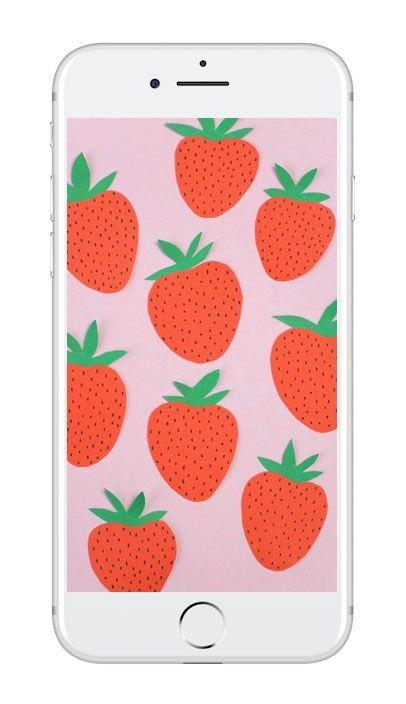 Mobilbakgrund med jordgubbar