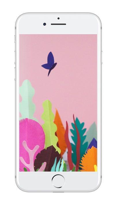Mobilbakgrund med blad och fjäril