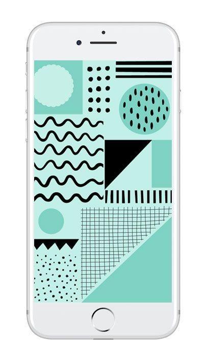 Mobilbakgrund med turkost grafiskt mönster