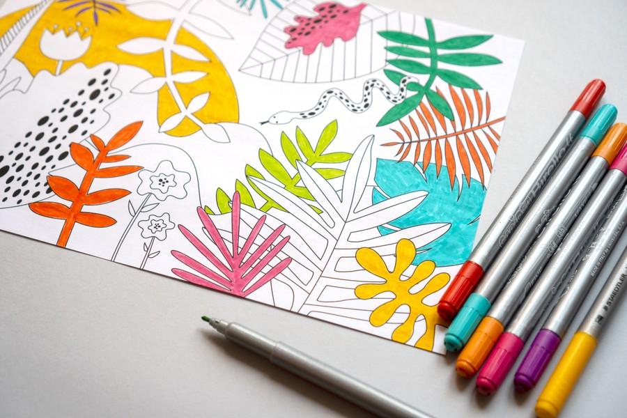 Gratis målarblad med blad och djungeltema