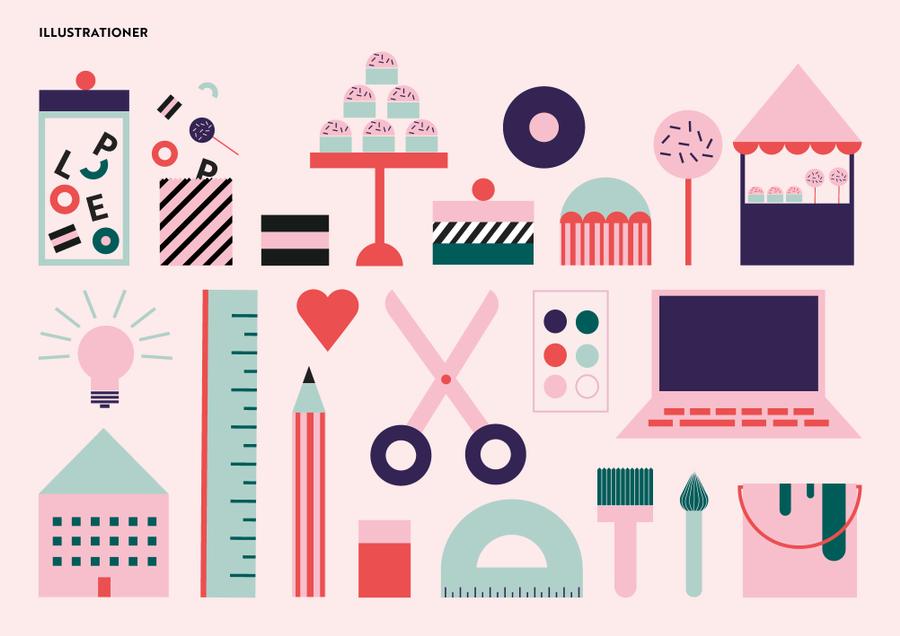 Illustration och del av en grafisk identitet.