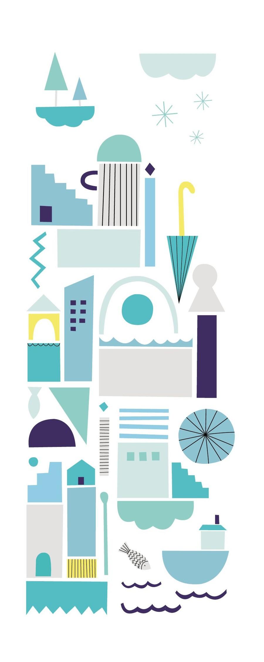 Illustration med abstrakta former i turkost