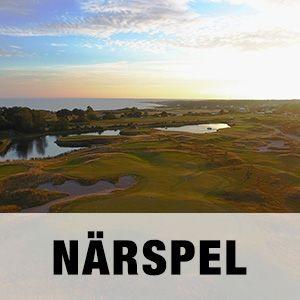 """En bild på Närspelsområdet på Halmstad Golfarena med texten """"NÄRSPEL""""."""