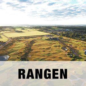 """En bild på den dubbelsidiga rangen på Halmstad Golfarena med texten """"RANGEN""""."""