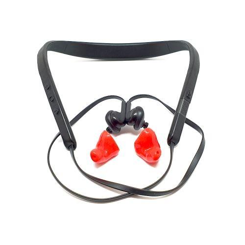 Röda formgjutna hörselskydd med bluetooth