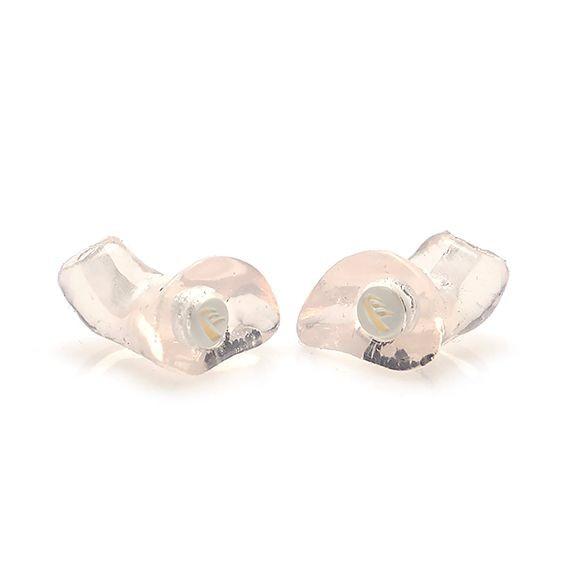 Formgjutet hörselskydd i svart och transparent färg