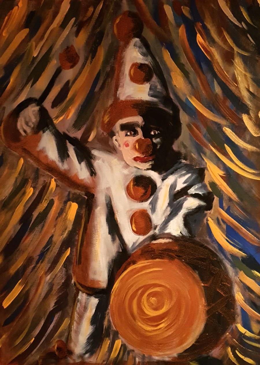 Parafras på ett foto med Caruso som Pajazzo. Målning: Johanna Broman Åkesson