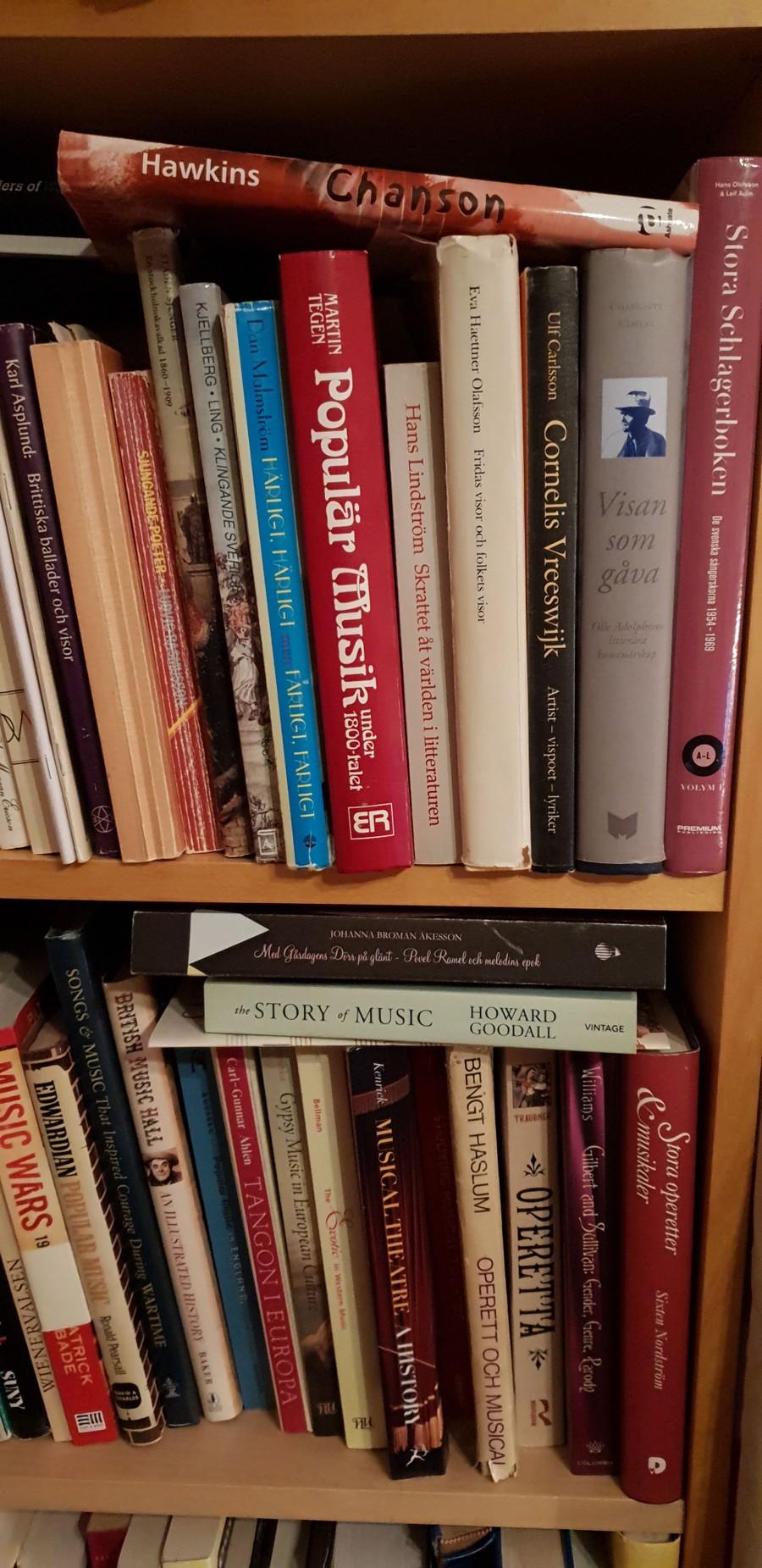 Bokhylla med böcker om populärmusik och visor