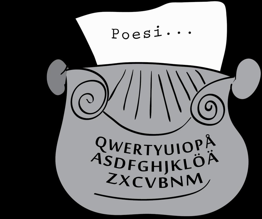 Illustration av en skrivmaskin av Johanna Broman Åkesson