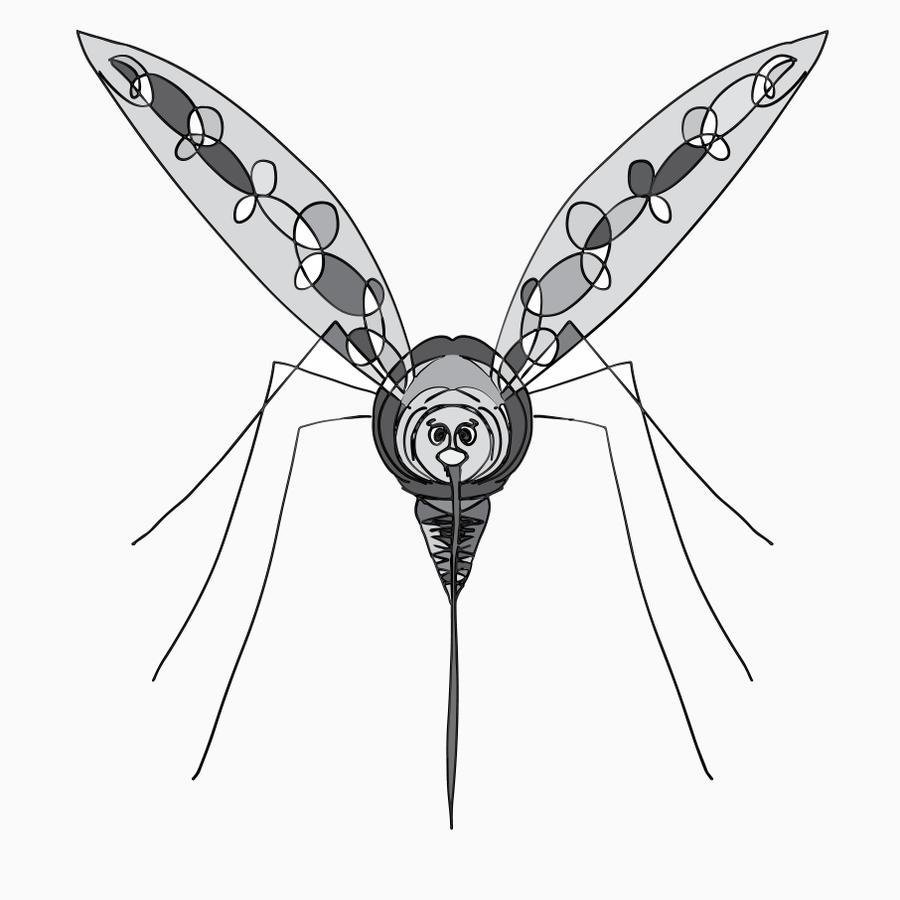 Illustration av en mygga av Johanna Broman Åkesson