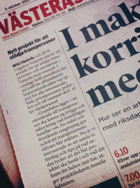 Västerås tidning, 5:e oktober 2013 om att projektet Transammans startar.