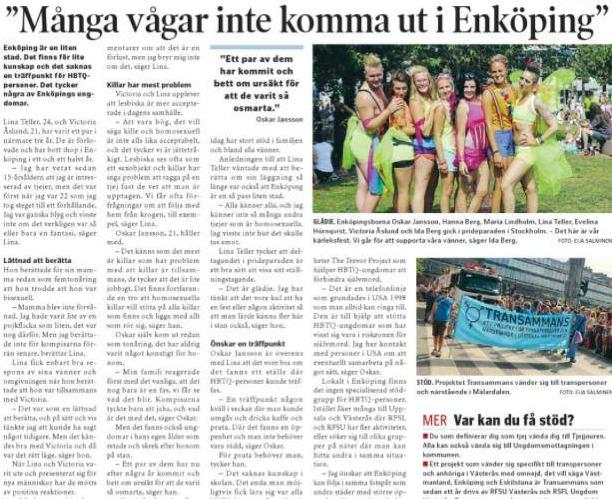 Ena Håbo tidningen, 9:e augusti 2014. Att vara HBTQ person i Enköping.