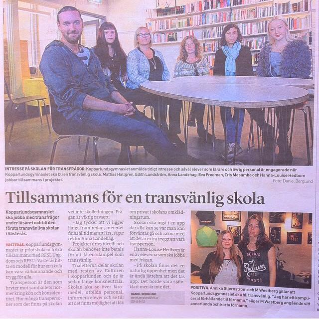 """VLT, 3:e oktober 2014. Kopparlundsgymnasiet är pilotskola för att bli och ta fram konceptet """"Transvänlig skola""""."""