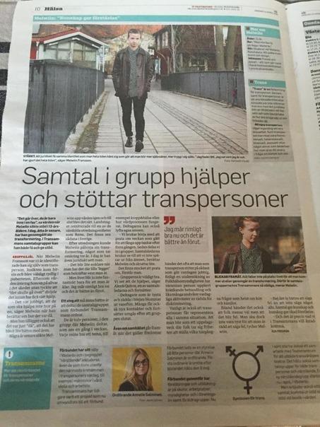 VLT 13 april 2016. Intervju med en styrelseledamot om bl.a Transammans samtalsgrupper för transpersoner.