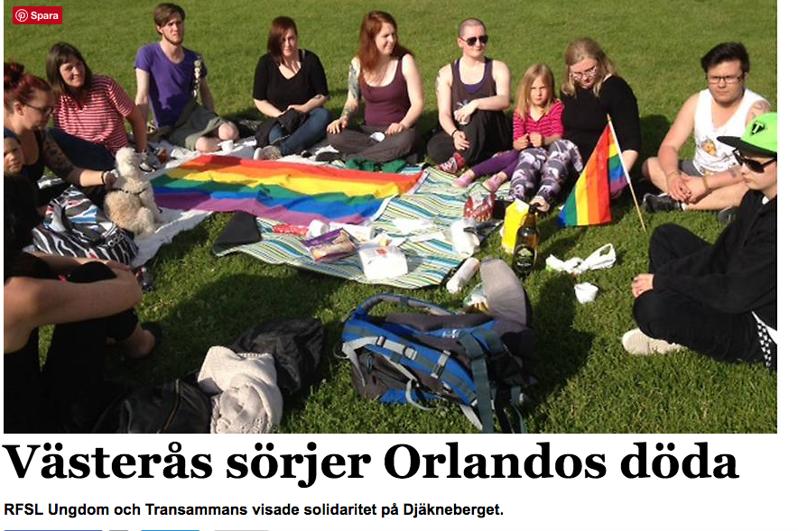 VLT 13 juni 2016. Internetartikel om den tysta minut som hölls för offren i Orlando.