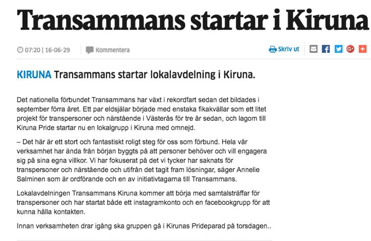Norrbottens Kuriren 29:e juni 2016. Internetartikel om att Transammans Kiruna har startats.