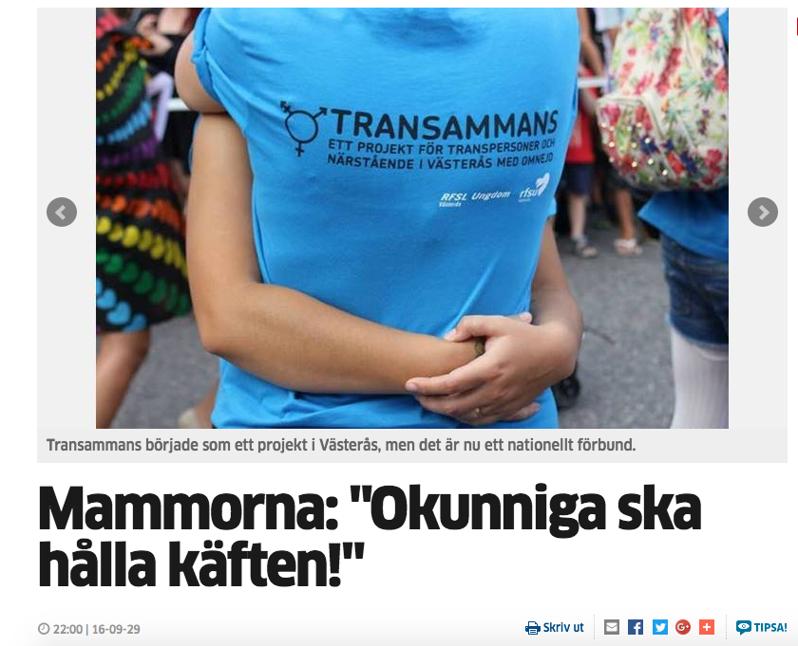 Corren.se 29:e september 2016. Internetartikel om att Transammans Linköping har startats.