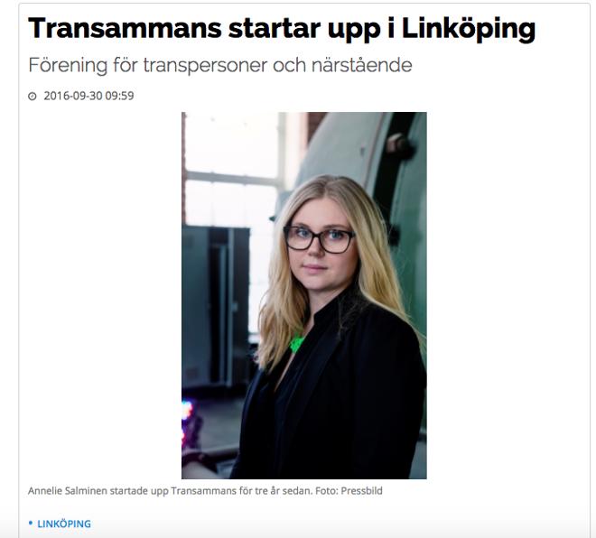 Vimmerby tidning 30:e september 2016. Internetartikel om att Transammans Linköping har startats.