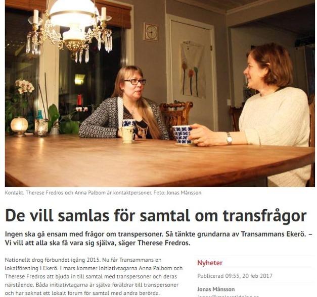 Mälarö tidning 20:e februari 2017. Internetartikel om att Transammans Ekerö har startats.