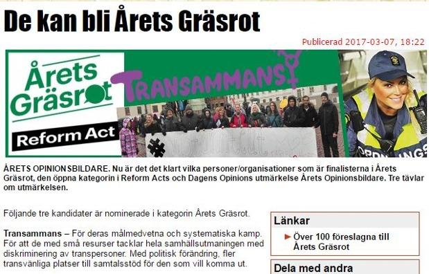 Nomineringen till Årets Gräsrot 2016, 7:e mars 2017. Internetartikel om de nominerade till Årets Gräsrot.