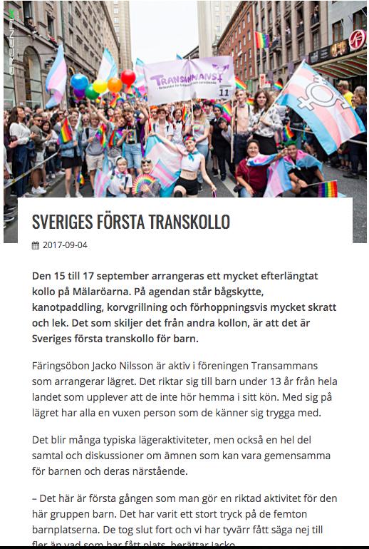 Mälaröarnas nyheter, 4:e september 2017. Internetartikel om Transkollot.