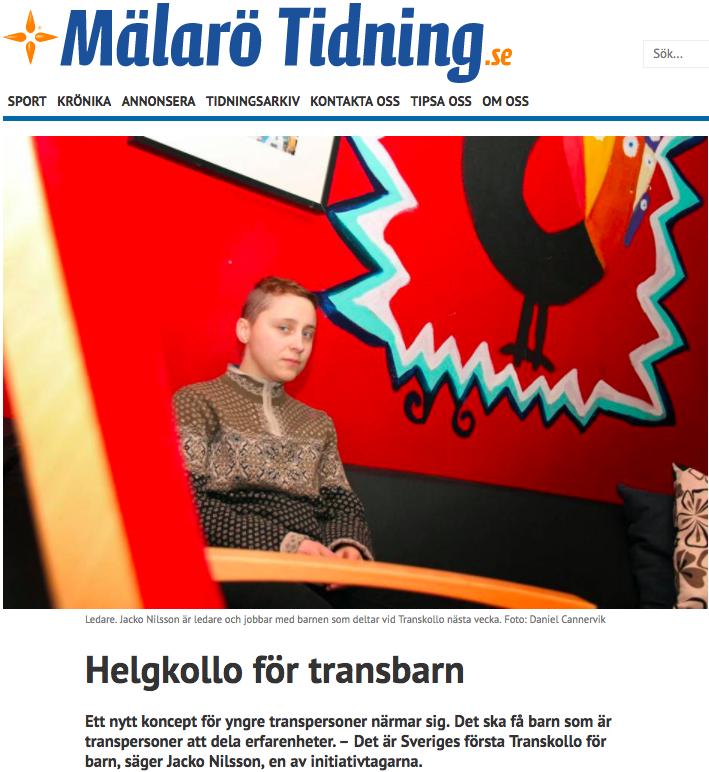 Mälarö tidning, 8:e september 2017. Artikel om Transkollot.