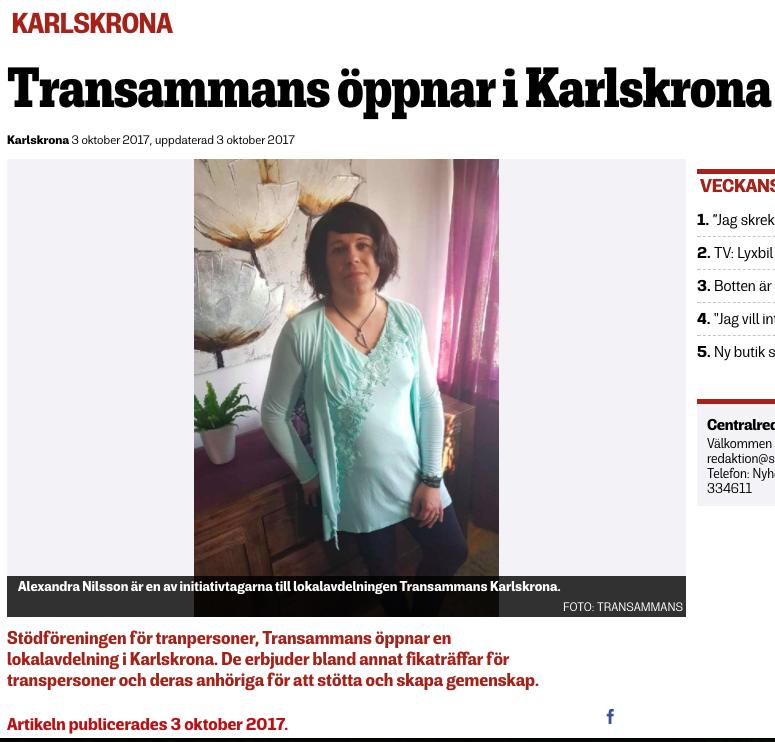 Sydöstran, 3:e oktober 2017. Artikel om att Transammans Karlskrona startar upp.