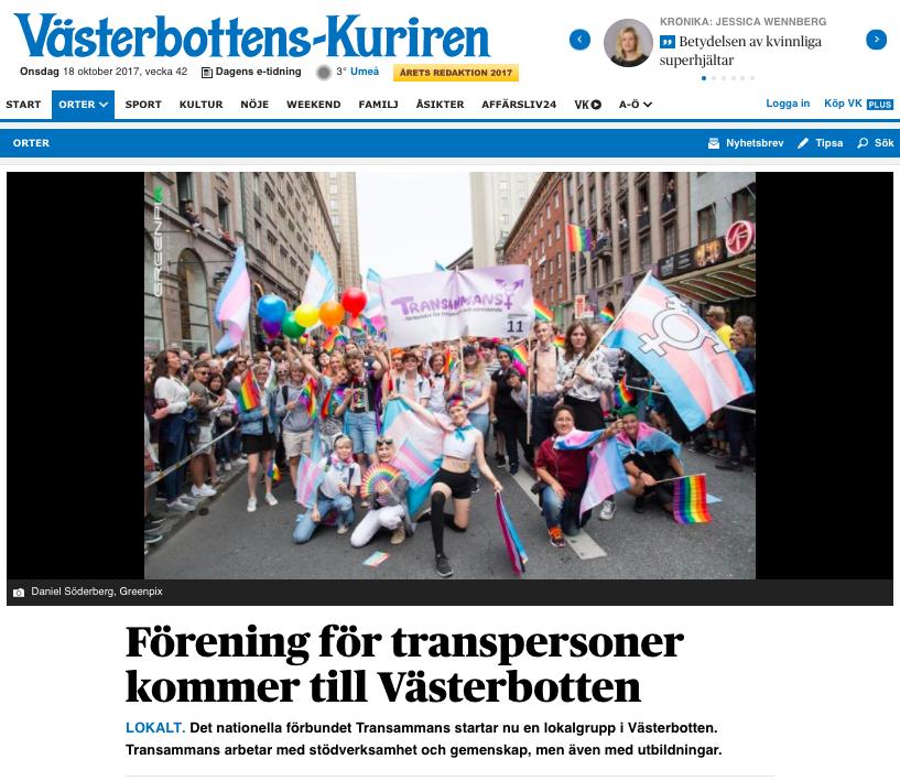 Västerbottenkuriren, 9:e oktober 2017. Artikel om att Transammans Västerbotten startar upp.