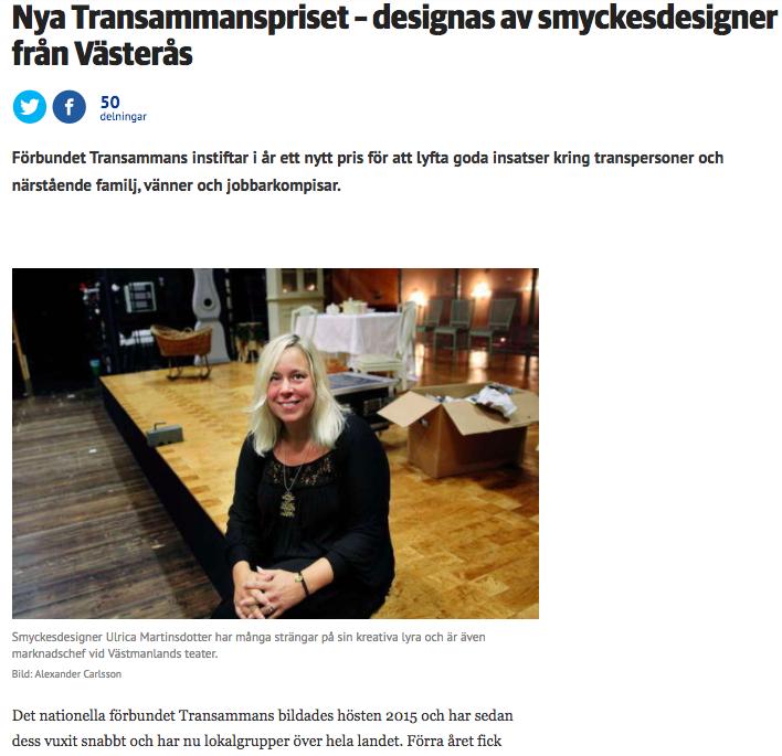 VLT, 13: november. Artikel om Transammanspriset 2017.