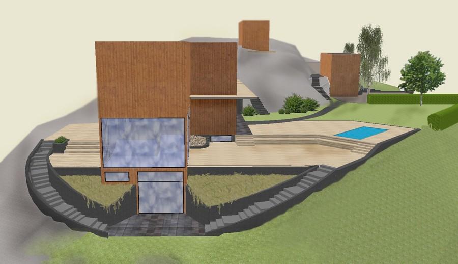 Visionsbild 3D trädgårdsdesign