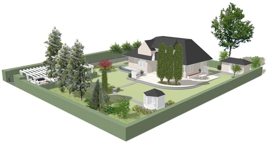 3D-vy trädgårdsdesign trädgårdsritning trädgårdsvy trädgårdsidé ny trädgård från ovan altan veranda uteplats stengång lusthus sketchup
