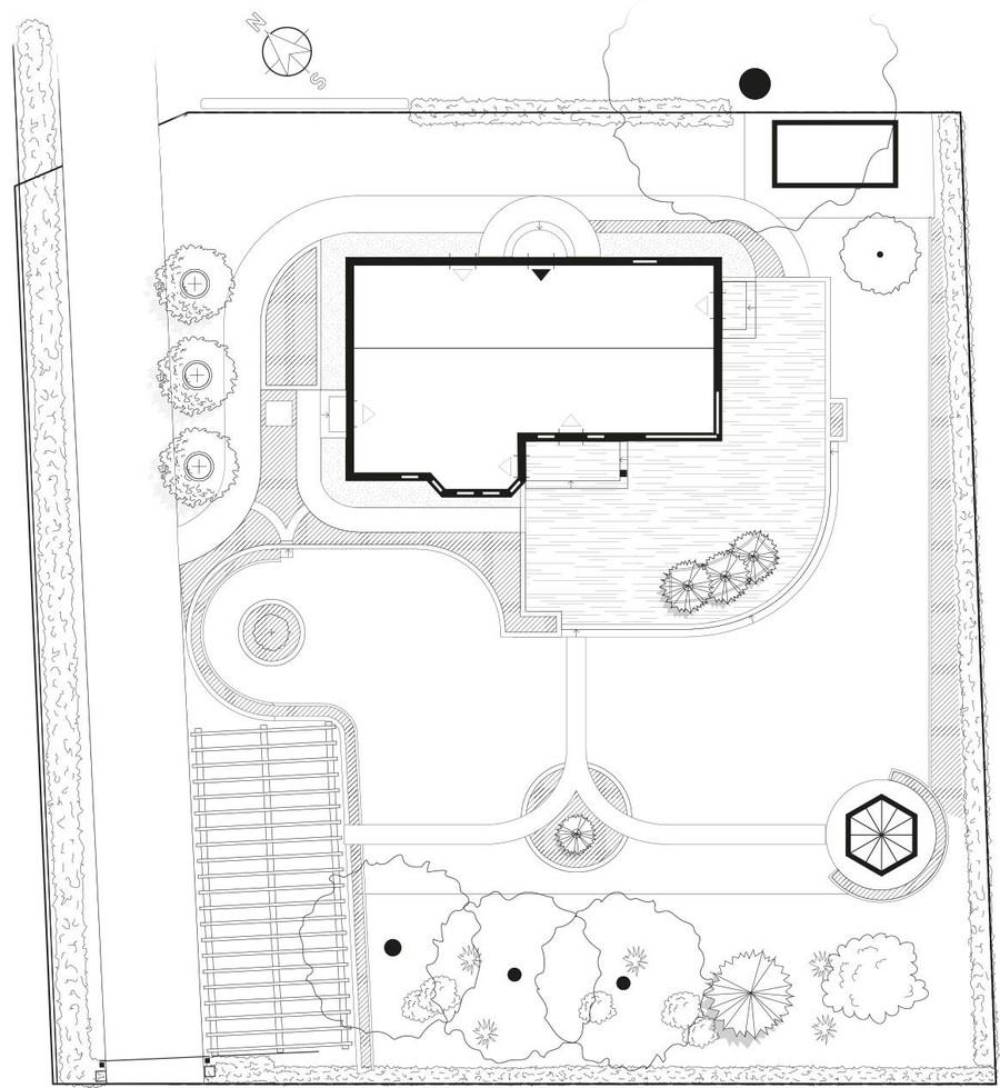 trädgårdsritning planvy planritning trädgårdsdesign trädgårdsplanering altan lusthus uteplats trädgård illustratorritning