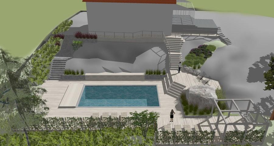3D-vy trädgårdsdesign trädgårdsritning trädgårdsvy trädgårdsidé ny trädgård från ovan altan veranda uteplats stengång poolområde pool pergola trappor sketchup