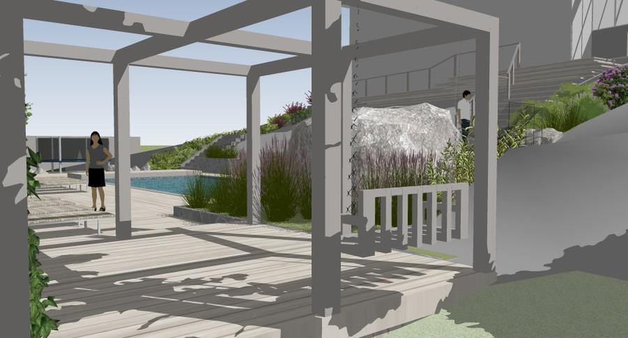 poolområde pergola visionsbild 3D SketchUp trädgårdsdesign trädgårdsplanering altan uteplats trädgård