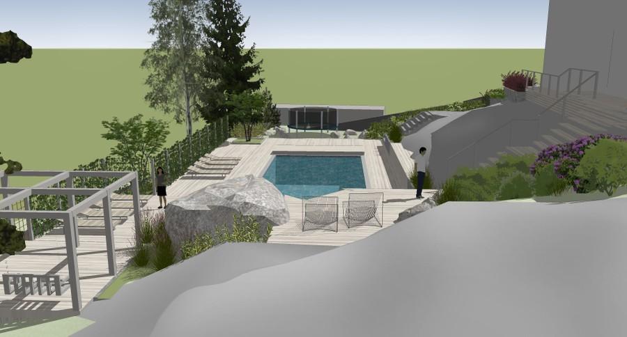 pool poolområde 3D SketchUp trädgårdsdesign trädgårdsplanering trädgårdsritning