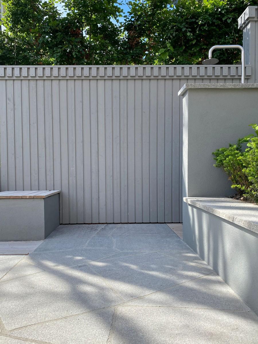 Wägerths Trädgårdsdesign trädgårdsarkitekt trädgårdsritning trädgårdsvy trädgårdsidé ny trädgård altan uteplats trall pool poolområde stengång bohusgranit mur utedusch utomhusdusch plank