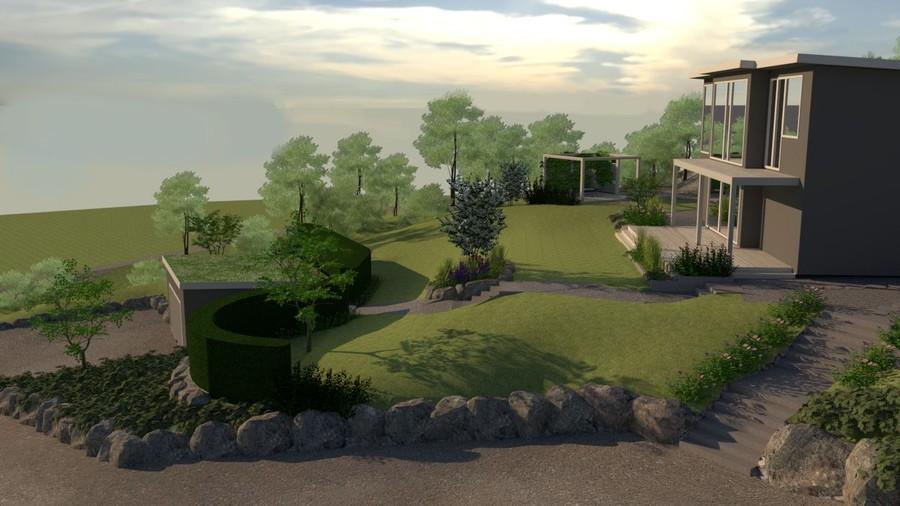 Trädgårdsritning 3D i SketchUp av trädgårdsarkitekt Mimmi Wägerth. Visionsvy. Trädgårdsdesign. utbyggnad altan veranda garage stenmur naturstensmur rendering v-ray
