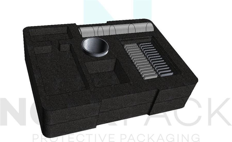 Cellplast, skumplast, skräddarsytt för hardcase, plastväskor eller plywoodlådor.